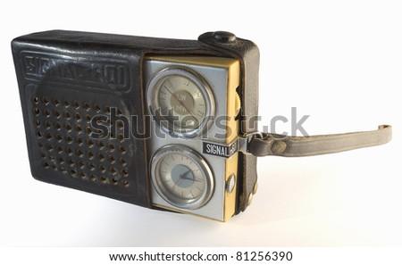 Pocket radio appliance, vintage retro style. - stock photo