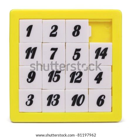 Pocket sliding fifteen puzzle game isolated on white - stock photo