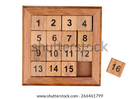 Pocket sliding fifteen puzzle game isolated on white background. With clipping path - stock photo