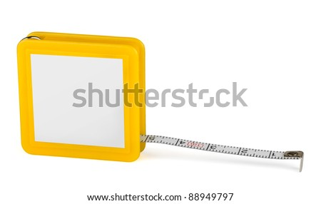 Pocket tape measure with blank label isolated on white - stock photo