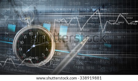 Pocket watch and business concepts on digital background - stock photo