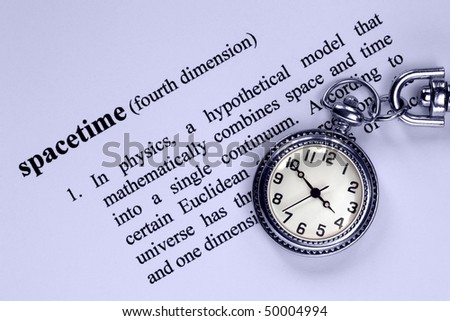 Pocket Watch and definition of space-time, concept analogy for space, time, fourth dimension, higher space, quantum physics. - stock photo