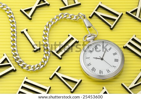 Pocket watch and roman numerals - stock photo