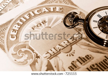 Pocket Watch and Stock Certificates - Market Timing Concept - stock photo