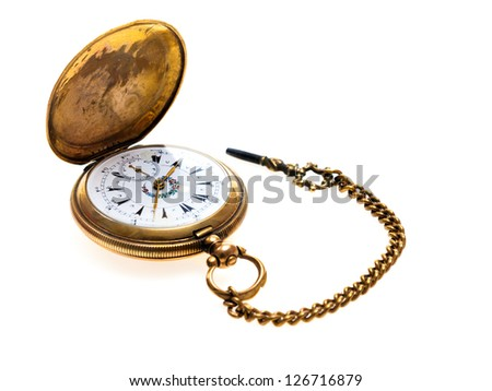 Pocket Watch Antique Golden, on white background