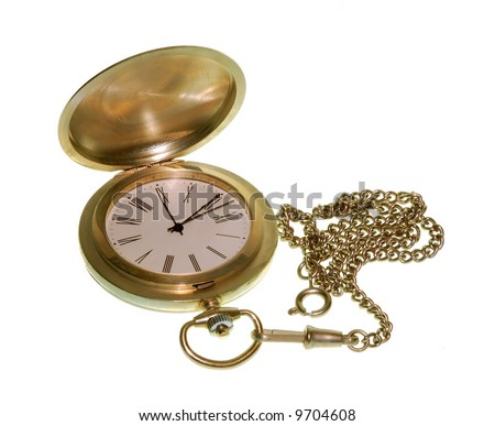 Pocket watch in gold isolated over a white background