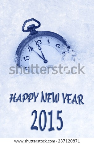 Pocket watch in snow, Happy New Year 2015 greeting card - stock photo