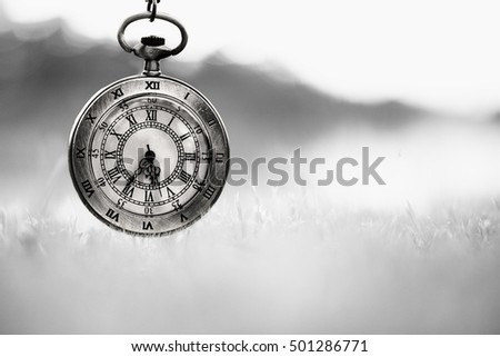 Pocket watch in the dawn time (Black and white)