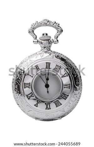 Pocket watch isolated on white background - stock photo