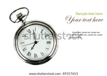 Pocket watch. Isolated on white background. - stock photo