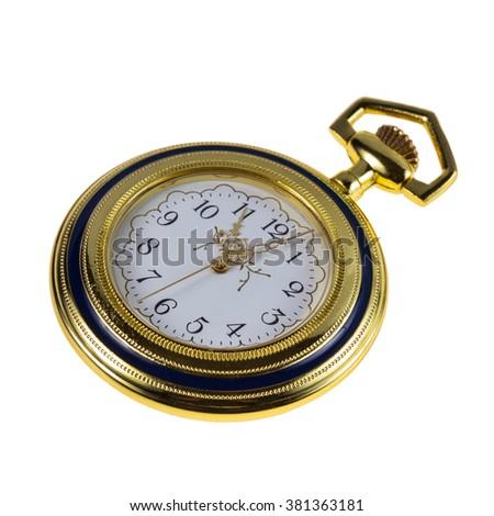 Pocket watch, old style, isolated on white background - stock photo