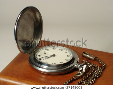 Pocket watch on a white background