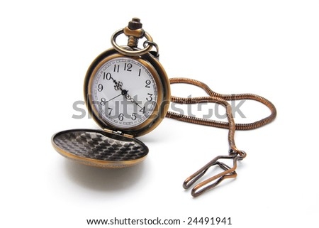 Pocket Watch on Isolated White Background