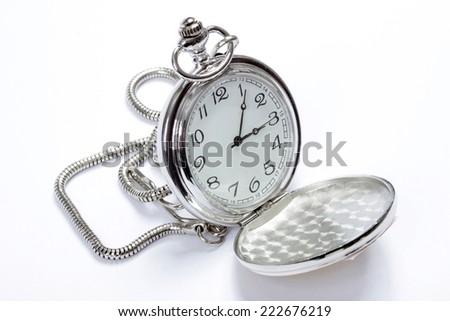 Pocket watch on white - stock photo