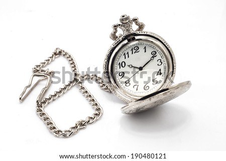 Pocket Watch on White Background - stock photo