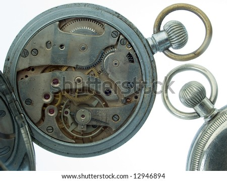 Pocket watch  open showing clockworks