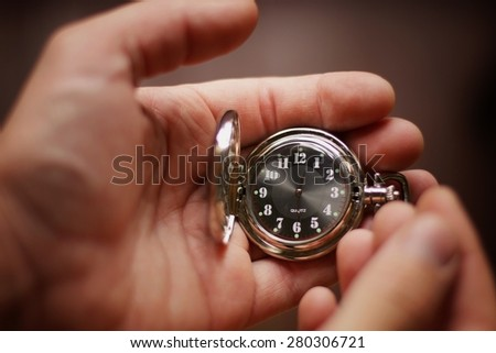 pocket watch time - stock photo