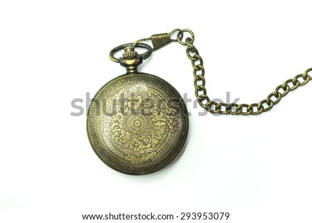 pocket watch vintage : isolate - stock photo