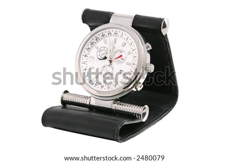 Pocket watch with leather cover on white background