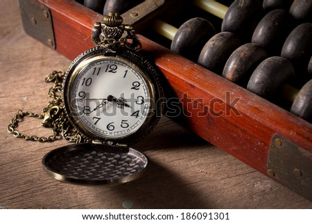 Pocket watch with old abacus,vintage color style.