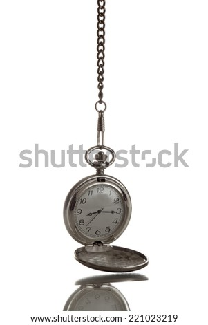 Pocket watch with reflection hanging - stock photo