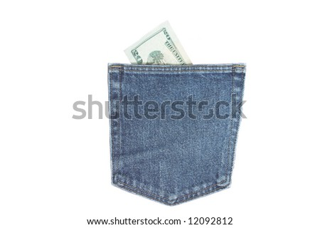 Pocket with money in it - stock photo