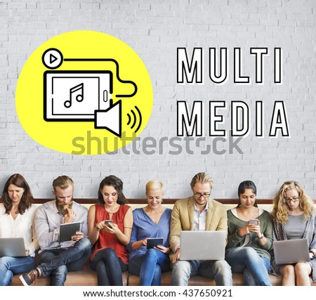 Podcast Digital Device Social Media Concept - stock photo