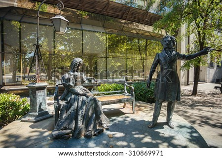 PODGORICA, MONTENEGRO - JULY 29, 2015: Monument to Alexander Pushkin in the center of Podgorica, capital of Montenegro. This landmark was created in 2002 by famous russian sculptor Alexander Taratynov
