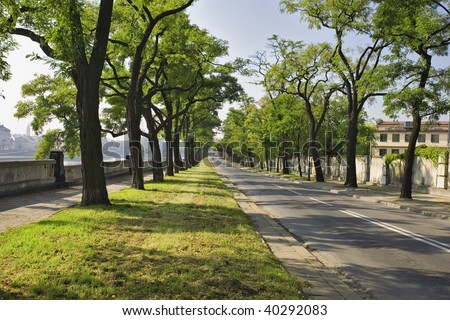 Podgorska Street runs along the Vistula River in the Kazimierz Quarter also known as the Jewish Quarter in beautiful historic Cracow. - stock photo