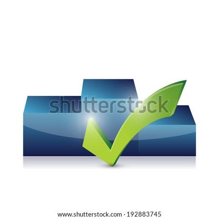 podium and checkmark illustration design over a white background - stock photo