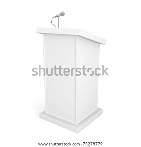 Podium and Microphone isolated on white - 3d illustration - stock photo