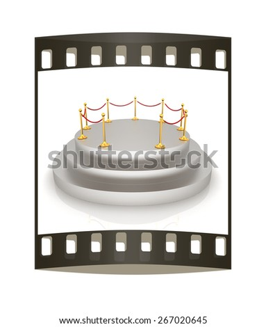 podium 3d. The film strip - stock photo