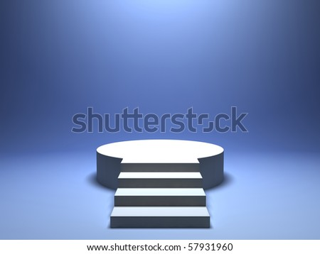 Podium for winner on blue background - stock photo