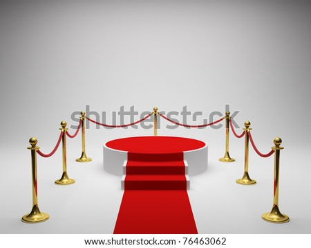 Podium for winner with red carpet - stock photo