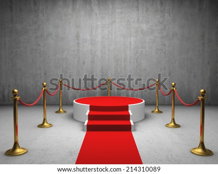 Podium for winner with red carpet in concrete room - stock photo