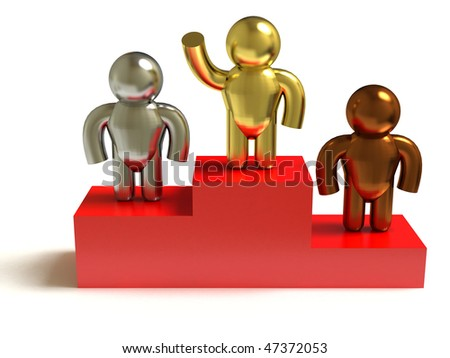 Podium. Gold, silver, bronze. Cartoon people. - stock photo