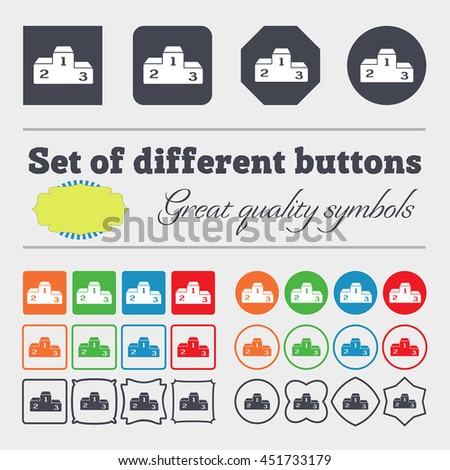 Podium icon sign. Big set of colorful, diverse, high-quality buttons. illustration - stock photo