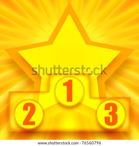 Podium of winners with bright shining golden star on background - stock photo