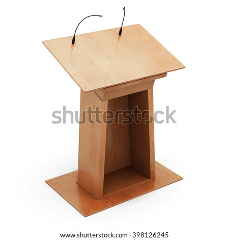 Podium tribune with microphones isolated on white background. 3d rendering. - stock photo