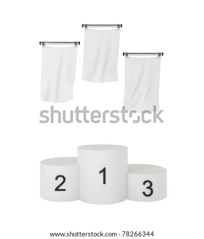 Podium, winners, with blank flags, isolated on white, with clipping path, 3d illustration - stock photo