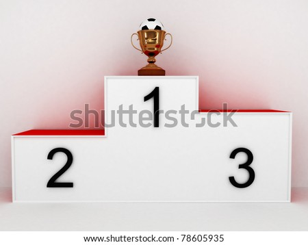 Podium with a soccer ball in the cup on white background. 3D - stock photo