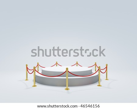 Podium with barrier - stock photo