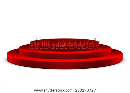 Podium with red carpet - stock photo