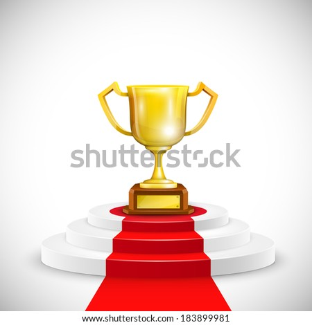 Podium With Red Carpet And Trophy Cup - stock photo