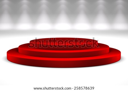 Podium with red carpet over studio background - stock photo