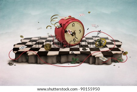 Podium with red old clock, flying cards, rope,  photo wallpapers. Computer Graphics. - stock photo