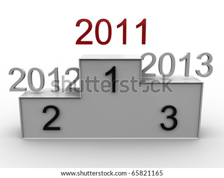 Podium with the years 2011, 2012, 2013. 3D - stock photo