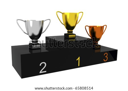 Podium with trophy cups isolated on white - stock photo