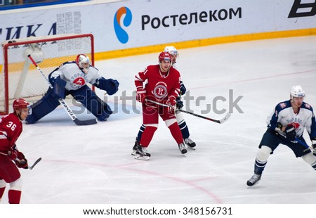 PODOLSK - NOVEMBER 21, 2015: A. Makeev (91) in action during hockey game Vityaz vs Torpedo on Russia KHL championship in Vutyaz ice arena, Podolsk, Russia. Torpedo won 4:3 - stock photo