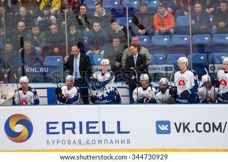 PODOLSK - NOVEMBER 21, 2015: Peteris Skudra, Trainer of Torpedo team during hockey game Vityaz vs Torpedo on Russia KHL championship in Vutyaz ice arena, Podolsk, Russia. Torpedo won 4:3